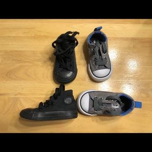 2 pair lot boys converse sneakers all star